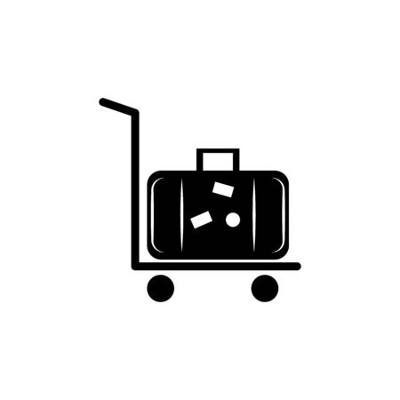 silhouette of rolling luggage trolly or cart with luggage on it icon on white background Illustration