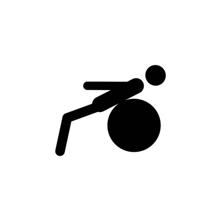 man on fitness ball icon. Element of sport icon. Premium quality graphic design icon. Signs and symbols collection icon for websites, web design, mobile app on white background Ilustração