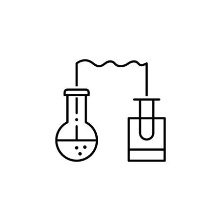 Experiment-Symbol. Element der Wissenschaftsillustration. Dünne Linie Illustration für Website-Design und -Entwicklung, App-Entwicklung. Premium-Umrisssymbol auf weißem Hintergrund