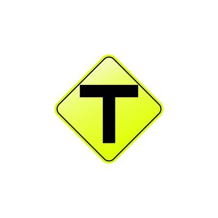 T junction icon. Element of road signs icon for mobile concept and web apps. Colored T junction icon can be used for web and mobile. Premium icon on white background