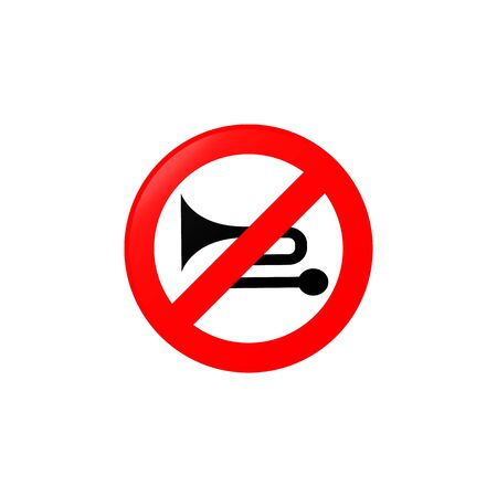 Excessive noiser prohibited icon. Element of road signs icon for mobile concept and web apps. Colored Excessive noiser prohibited icon can be used for web and mobile. Premium icon on white background Иллюстрация