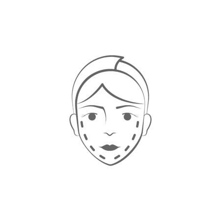 icona di tiraggio della mano di chirurgia plastica. Elementi dell'icona dell'illustrazione di sollevamento del viso e del corpo. Segni e simboli possono essere utilizzati per web, logo, app mobile, UI, UX su sfondo bianco su sfondo bianco Logo