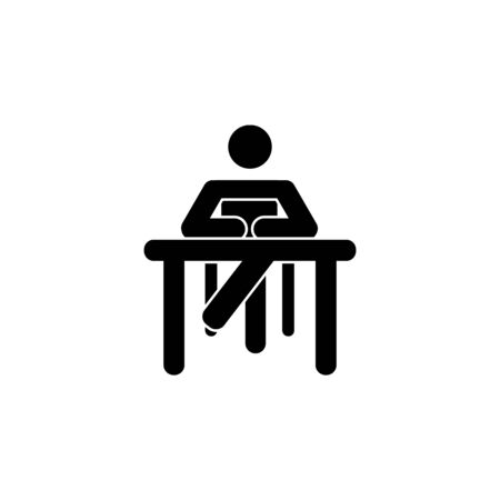 silhouette of a woman sitting behind a book icon on white background Illustration