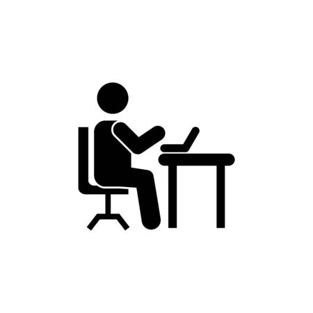 Man silhouette working on computer icon on white background Illustration