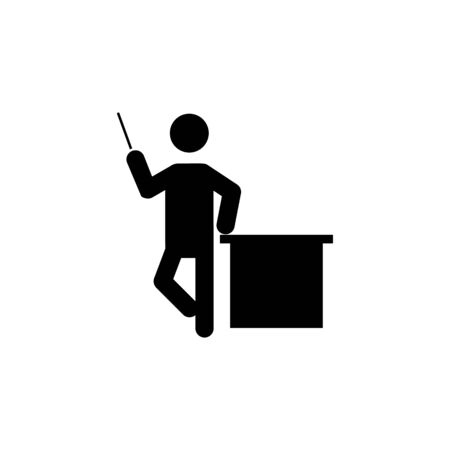 Silhouette of a teacher man icon on white background