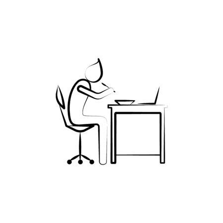 Office man eet voedsel in werkoverzicht icoon. Element van kantoor leven illustratie. Premium kwaliteit grafisch ontwerp icoon. Tekens en symbolen collectie icoon voor websites, mobiele app op witte achtergrond