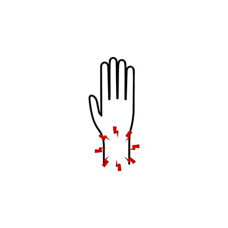 pain in the wrist icon. Element of human body pain for mobile concept and web apps illustration. Thin line icon for website design and development, app development on white background