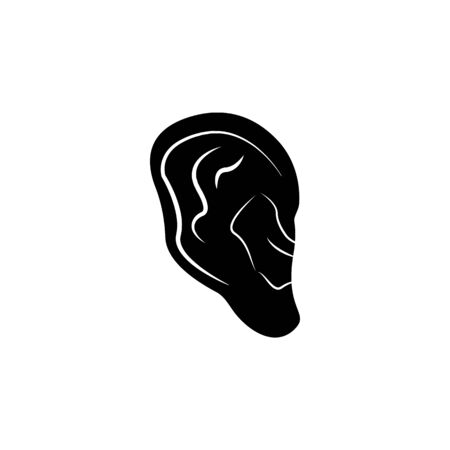 human ear icon. Element of body parts icon. Premium quality graphic design icon. Signs and symbols collection icon for websites, web design, mobile app on white background  イラスト・ベクター素材
