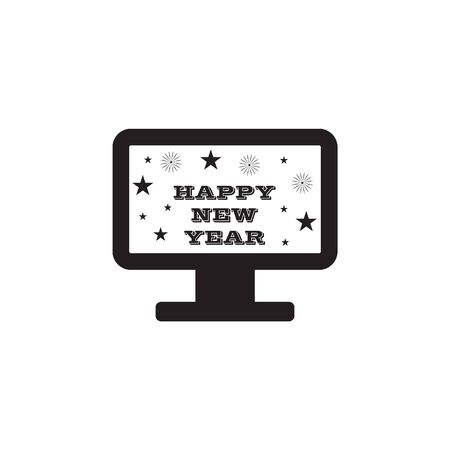 New Year's TV congratulation icon on white background