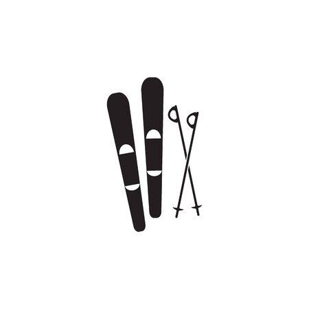 skis and a sticks icon on white background