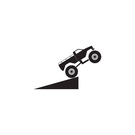 jump monster track icon. Monster trucks element icon. Premium quality graphic design icon. Baby Signs, outline symbols collection icon for websites, web design, mobile app on white background Reklamní fotografie - 135444878