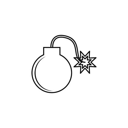 bomb line icon on white background