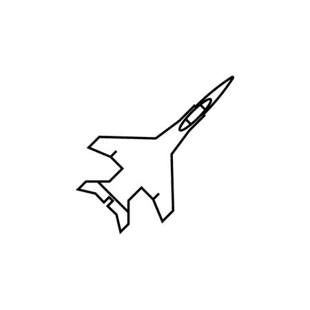 aircraft jet line icon on white background