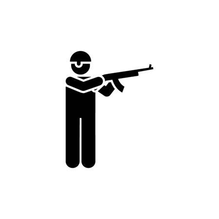 Rifle, man, soldier, military, helmet gun pictogram icon on white background