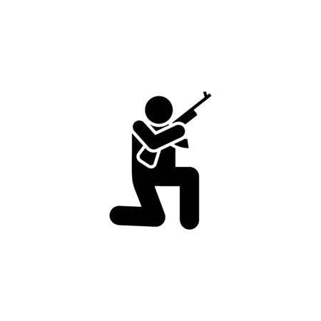 War, action, soldier, gun man pictogram icon on white background