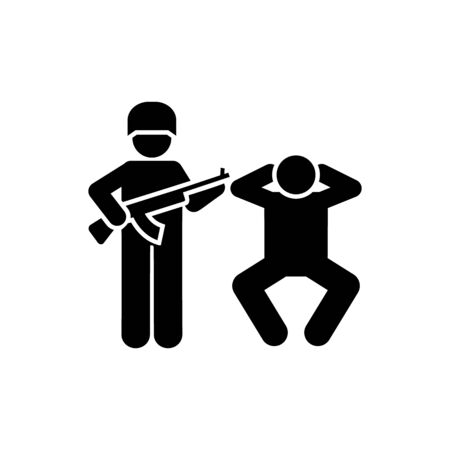 Man, soldier, gun, action military pictogram icon on white background