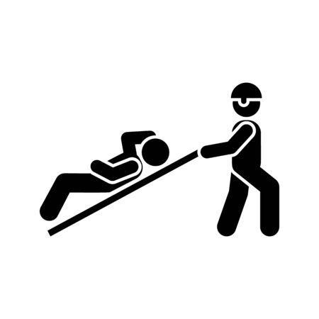 Man, soldier, injured, military pictogram icon on white background Иллюстрация