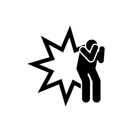 Soldier, injured, bomb, military wounded pictogram icon on white background