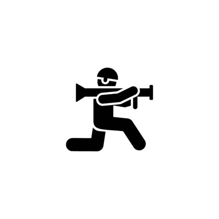Automatic, military, gun, soldiers sub pictogram icon on white background