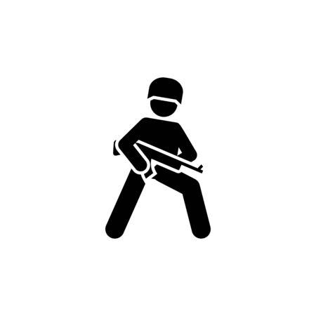 Military, action, man, guns shotgun pictogram icon on white background