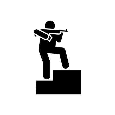 Man, soldier, military, gun army pictogram icon on white background Иллюстрация