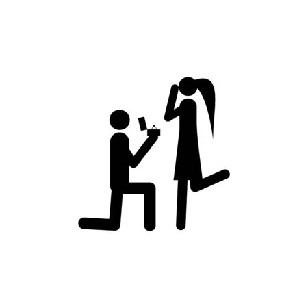 An offer of marriage icon. Element of life married people illustration. Premium quality graphic design icon. Signs and symbols collection icon for websites, web design on white background