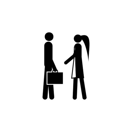 husband leaves for work icon. Element of life married people illustration. Premium quality graphic design icon. Signs and symbols collection icon for websites, web design on white background Иллюстрация