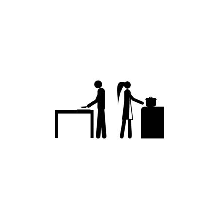 husband and wife in the kitchen icon. Element of life married people illustration. Premium quality graphic design icon. Signs and symbols collection icon for websites, web design on white background
