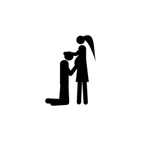 couple in anticipation of baby icon. Element of life married people illustration. Premium quality graphic design icon. Signs and symbols collection icon for websites, web design on white background