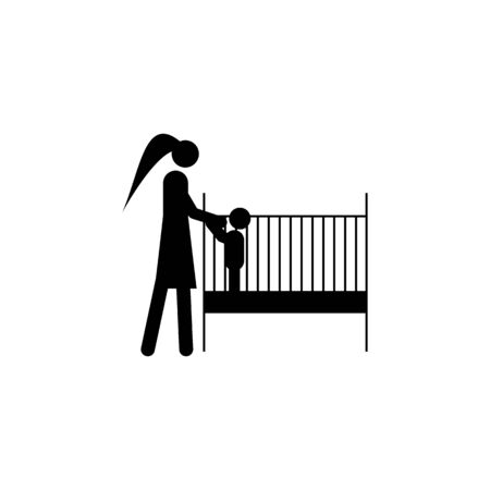 put the child to sleep icon. Element of life married people illustration. Premium quality graphic design icon. Signs and symbols collection icon for websites, web design on white background Иллюстрация