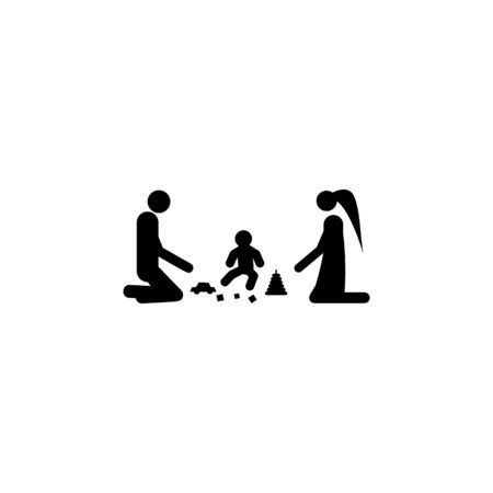 parents play with the child icon. Element of life married people illustration. Premium quality graphic design icon. Signs and symbols collection icon for websites, web design on white background