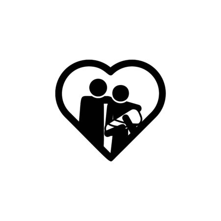 family with an infant in the heart icon. Element of life married people illustration. Premium quality graphic design icon. Signs and symbols collection icon for websites on white background