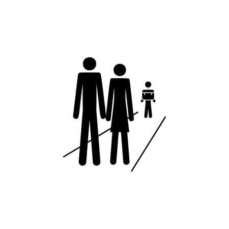 parents accompany children to school icon. Element of life married people illustration. Premium quality graphic design icon. Signs and symbols collection icon for websites on white background