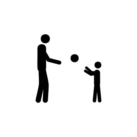 father plays with the child in the ball icon. Element of life married people illustration. Premium quality graphic design icon. Signs and symbols collection icon for websites on white background Иллюстрация