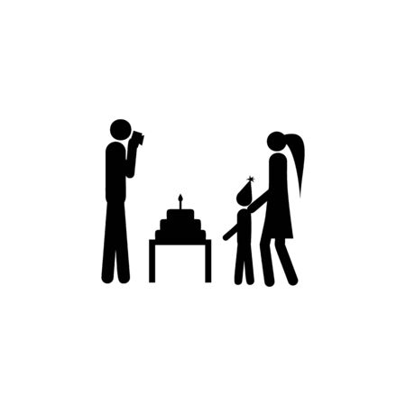 family celebrates the birthday of the child icon. Element of life married people illustration. Premium quality graphic design icon. Signs and symbols collection icon for websites on white background