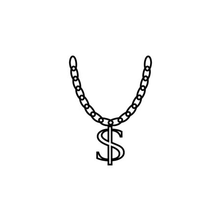 Necklace with big dollar sign icon on white background Archivio Fotografico - 137937547