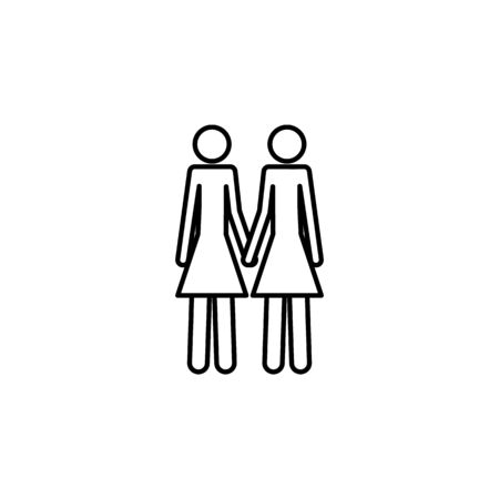 a couple of lesbians icon. Element of LGBT illustration. Premium quality graphic design icon. Signs and symbols collection icon for websites, web design, mobile app on white background