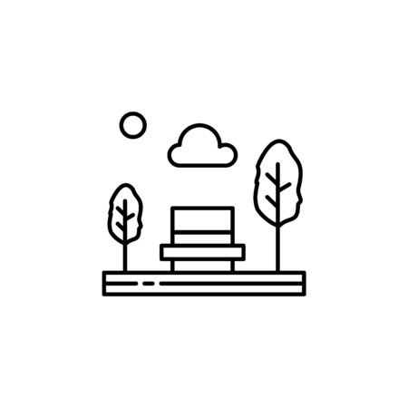 bench, park, seat, trees outline icon. Element of landscapes illustration. Signs and symbols outline icon can be used for web,  mobile app, UI, UX