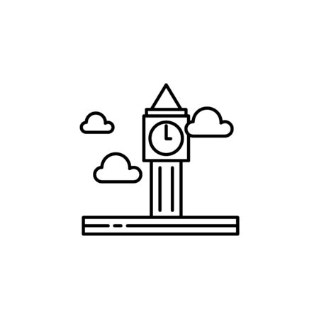 Big ben, cloud outline icon. Element of landscapes illustration. Signs and symbols outline icon can be used for web, mobile app, UI, UX
