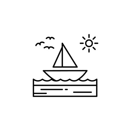 Boat, sea, sunny, sailboat, birds outline icon. Element of landscapes illustration. Signs and symbols outline icon can be used for web, mobile app, UI, UX