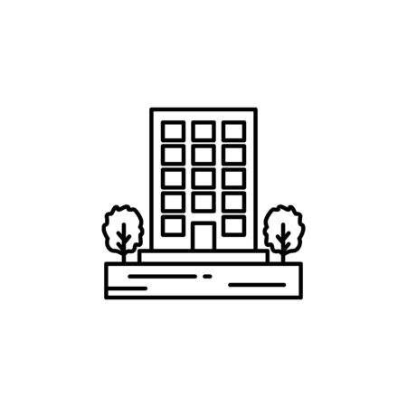 Building, trees outline icon. Element of landscapes illustration. Signs and symbols outline icon can be used for web,  mobile app, UI, UX
