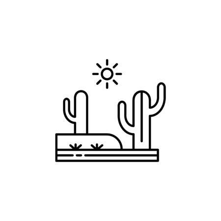 Cactus, desert, hot, sunny outline icon. Element of landscapes illustration. Signs and symbols outline icon can be used for web,  mobile app, UI, UX 일러스트