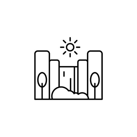 Cascade, sunny, tree outline icon. Element of landscapes illustration. Signs and symbols outline icon can be used for web, mobile app, UI, UX 일러스트