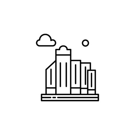 City, skyline, building outline icon. Element of landscapes illustration. Signs and symbols outline icon can be used for web,  mobile app, UI, UX