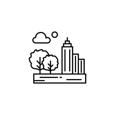 City, cloud, moon, tree outline icon. Element of landscapes illustration. Signs and symbols outline icon can be used for web,  mobile app, UI, UX 일러스트