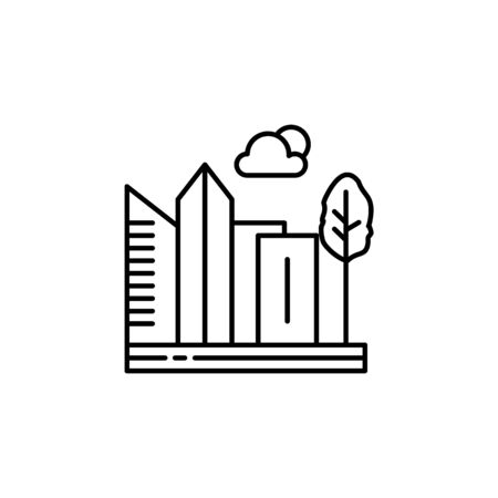 City, skyscraper, buildings, tree outline icon. Element of landscapes illustration. Signs and symbols outline icon can be used for web, mobile app, UI, UX