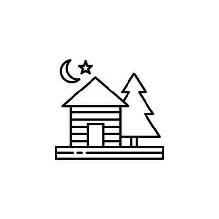Cottage, night, moon, star, tree outline icon. Element of landscapes illustration. Signs and symbols outline icon can be used for web, mobile app, UI, UX