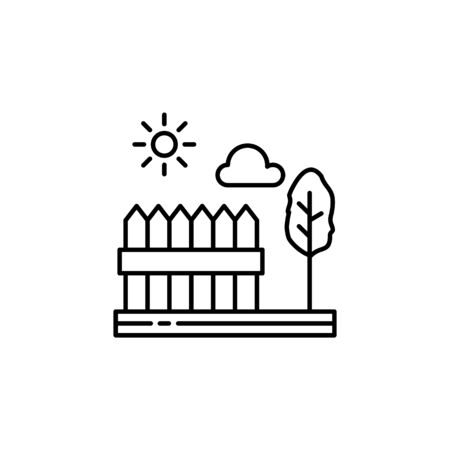 Fences, tree, sunny, cloud outline icon. Element of landscapes illustration. Signs and symbols outline icon can be used for web,  mobile app, UI, UX