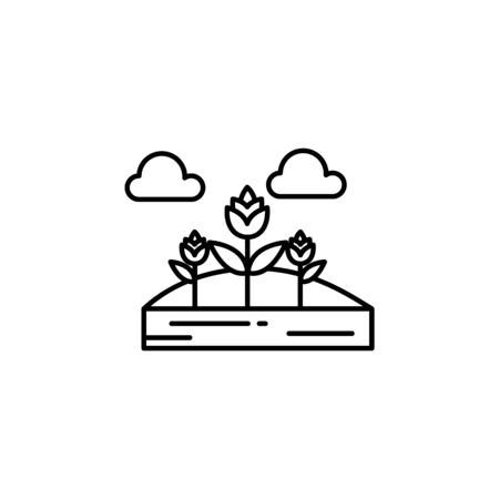 Flowers, clouds outline icon. Element of landscapes illustration. Signs and symbols outline icon can be used for web, mobile app, UI, UX 일러스트