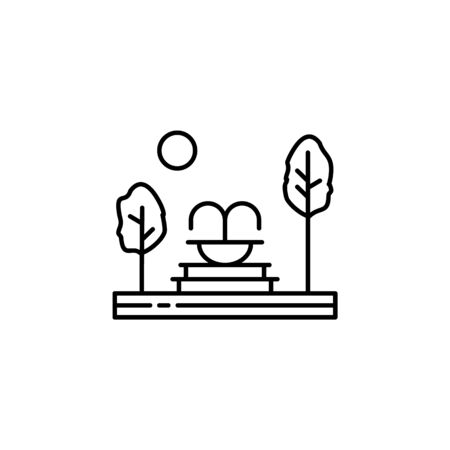 Fountain, trees, garden outline icon. Element of landscapes illustration. Signs and symbols outline icon can be used for web,  mobile app, UI, UX 일러스트